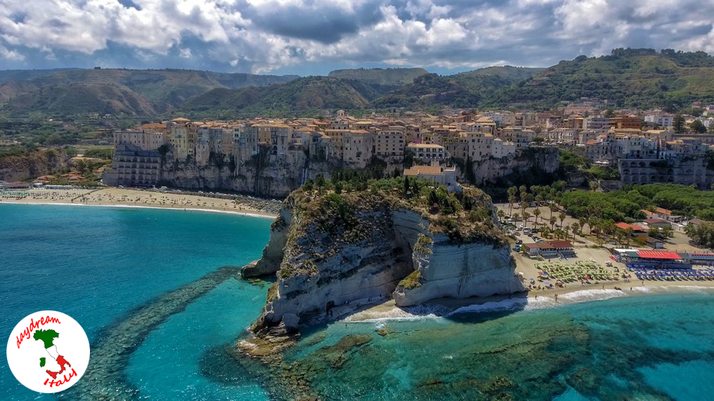 panoramic aerial view of tropea in italy